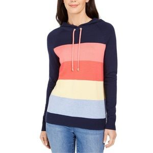 Rainbow Striped Spring Hooded Sweater NWT